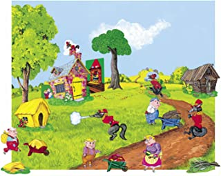The Three Pigs Flannel Board/Felt Story and Playboard set (figures, story board and case)