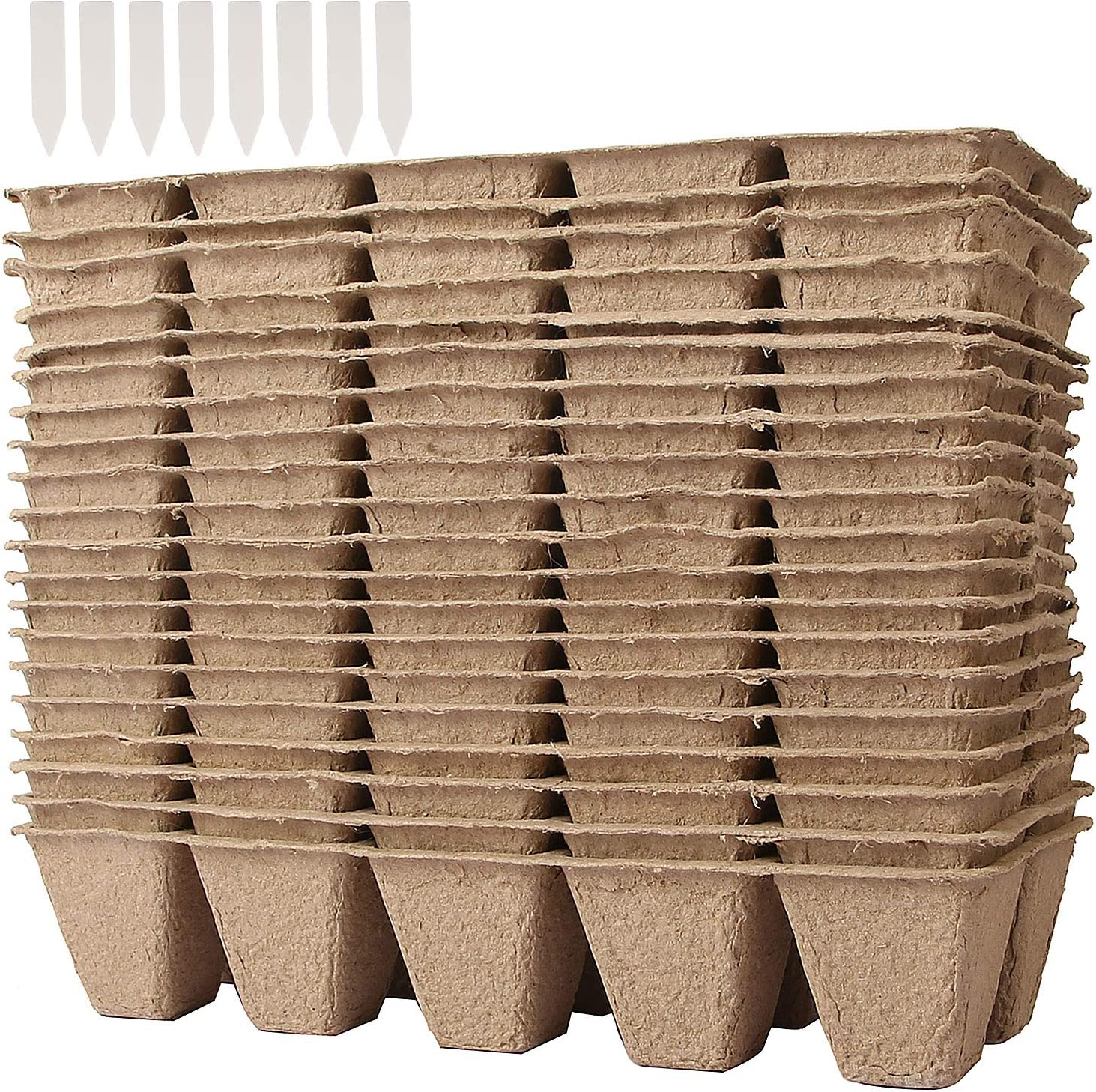 KEILEOHO 20 Pack 200 Cells Seed Starter Tray Kit,100% Natural Biodegradable Pulp Peat Pots for Seedling Plantable Organic Seeds Growing Trays Germination Containers with Holes with 200 White Labels
