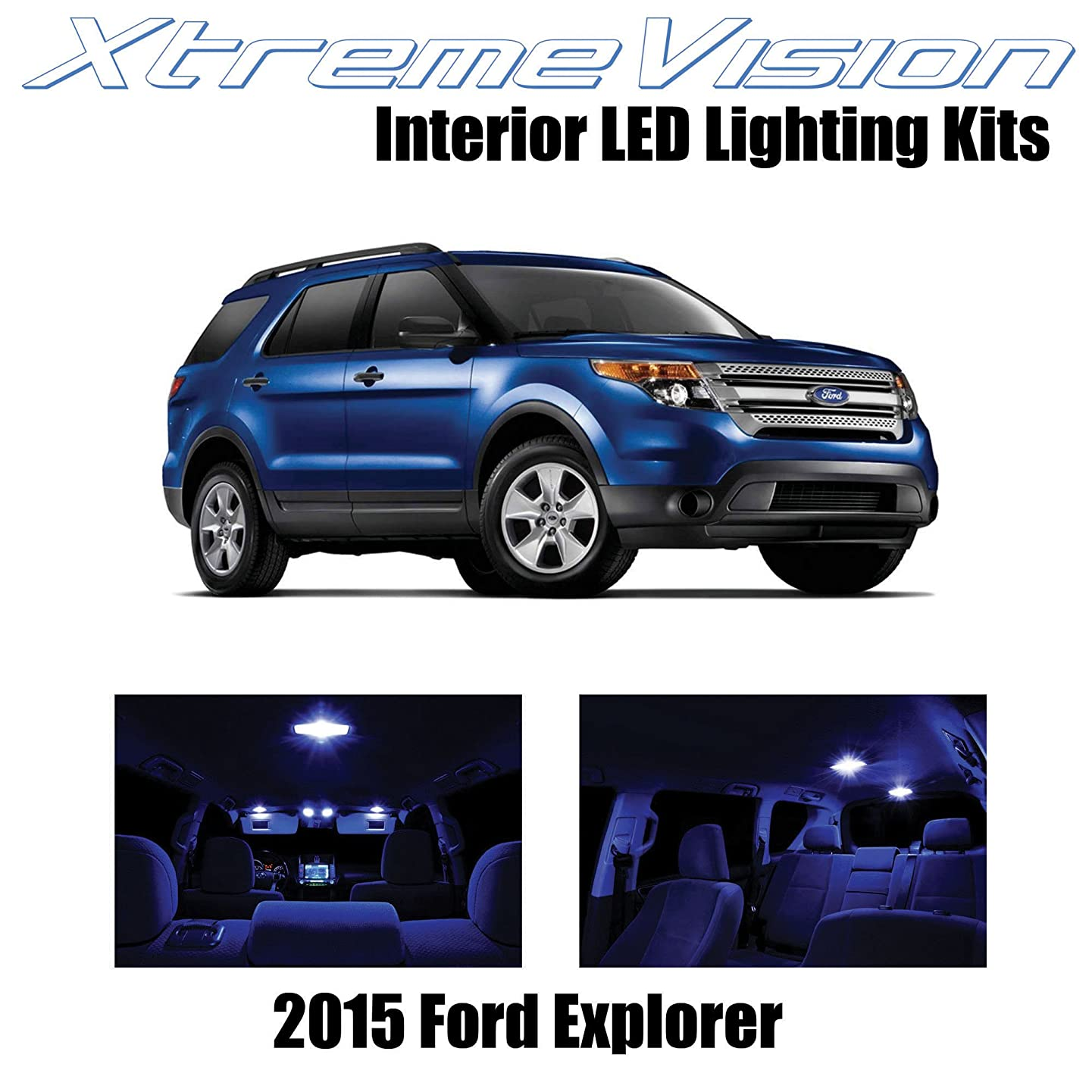 XtremeVision Interior LED for Ford Explorer 2015+ (11 Pieces) Blue Interior LED Kit + Installation Tool