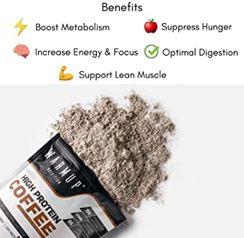 WarmUp All Natural High Protein Coffee Powder | 0G Sugar/Carbs | 60 Calories | Made Iced, Hot Or Blended | Non GMO Es...