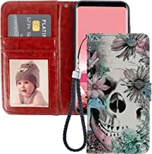 Flower Skull Samsung Galaxy S8 Wallet Phone Case, JQLOVE PU Leather Flip Magnetic Clasp Multi Card Slot with Stand Holder Cover Wallet Case for Samsung Galaxy S8