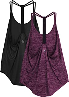 icyzone Workout Tank Tops for Women - Athletic Yoga Tops, T-Back Running Tank Top(Pack of 2)