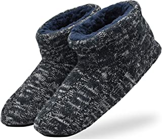 Men's Slippers Handmade Woolen Yarn Indoor Slipper Boots Sherpa Lined