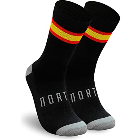 NORTEI - Calcetines Bandera España para Ciclismo, MTB y Running de Meryl para Hombre y Mujer – Spain