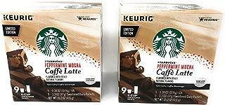 Starbucks Coffee Caffe Latte K Cups - 18 K Cups - Choose From 4 Flavors, Peppermint Mocha, Caramel, Mocha, Vanilla (Peppermint Mocha Caffe Latte)