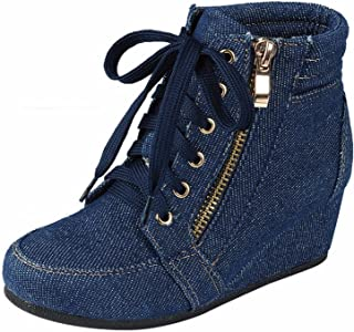 Women's Fashion Wedge Sneakers High Top Hidden Wedge Heel Platform Lace Up Shoes Ankle Bootie