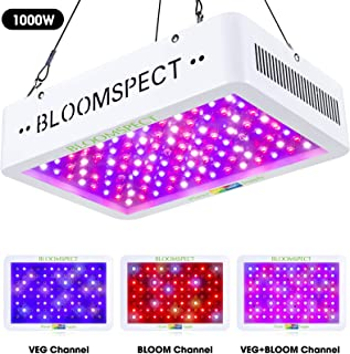 BLOOMSPECT 1000W LED Grow Light Full Spectrum for Indoor Plants with Veg and Bloom Switch Double Chips LED (100pcs 10W LEDs)