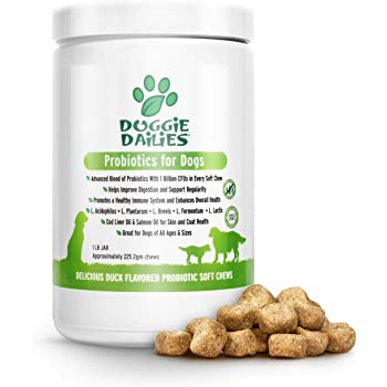 Doggie Dailies Probiotics for Dogs, 225 Soft Chews, Advanced Dog Probiotics with Prebiotics, Promotes Digestive Health, Supports Immune System and Overall Health