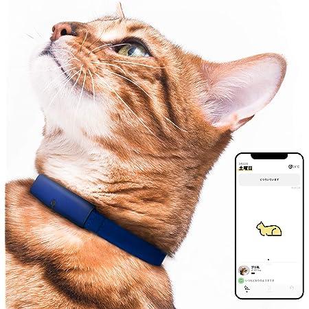 Catlog 食事や運動など愛猫の健康変化に気付けるスマート首輪 見守り 留守番 おしゃれ スタイリッシュ 軽い セーフティバックル iPhone & Android対応 (M, キトンブルー×ネイビー)