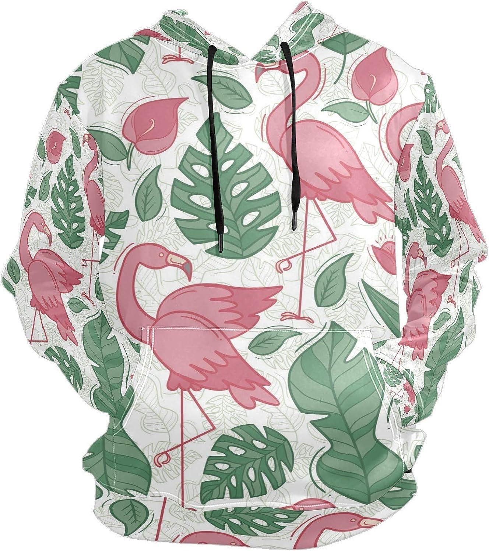 Pink Flamingo Tropical Palm Leaves Mens Sport Hoodie Big and Tall Hoodies for Men Women Oversized Hooded Sweatshirt Hip Hop Pullover Hoodie Midweight Hood for Boys Girls