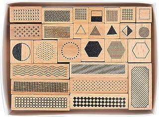 MissOrange『木製ゴム印セット』ジオメトリ 形状 クリエイティブスタンプセット クラフトカード スクラップブッキング 手帳用 27個セットM-11