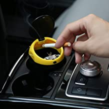 TANTRA Car Ashtrays Flame Retardant Material High Temperature Resistance Use Button To Open (Black + Yellow)