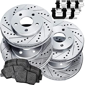 Front+Rear Drill Slot Brake Rotors And Ceramic Pads For 2006-2017 Toyota Rav 4