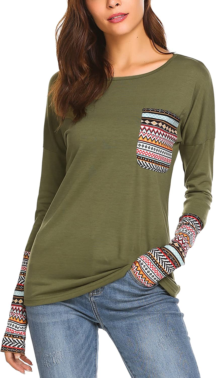 Beyove Women's Long Sleeve ONeck Patchwork Casual Loose TShirts Blouse Tops