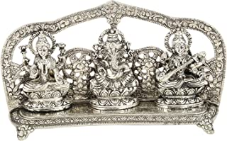 Carts Style Antique Finish 92.5 silver plated Laxmi Ganesh Swarsati decorative statue