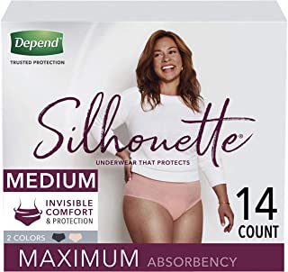 Depend Silhouette Incontinence Underwear for Women, Maximum Absorbency, Disposable, Medium, Pink & Black, 14 Count