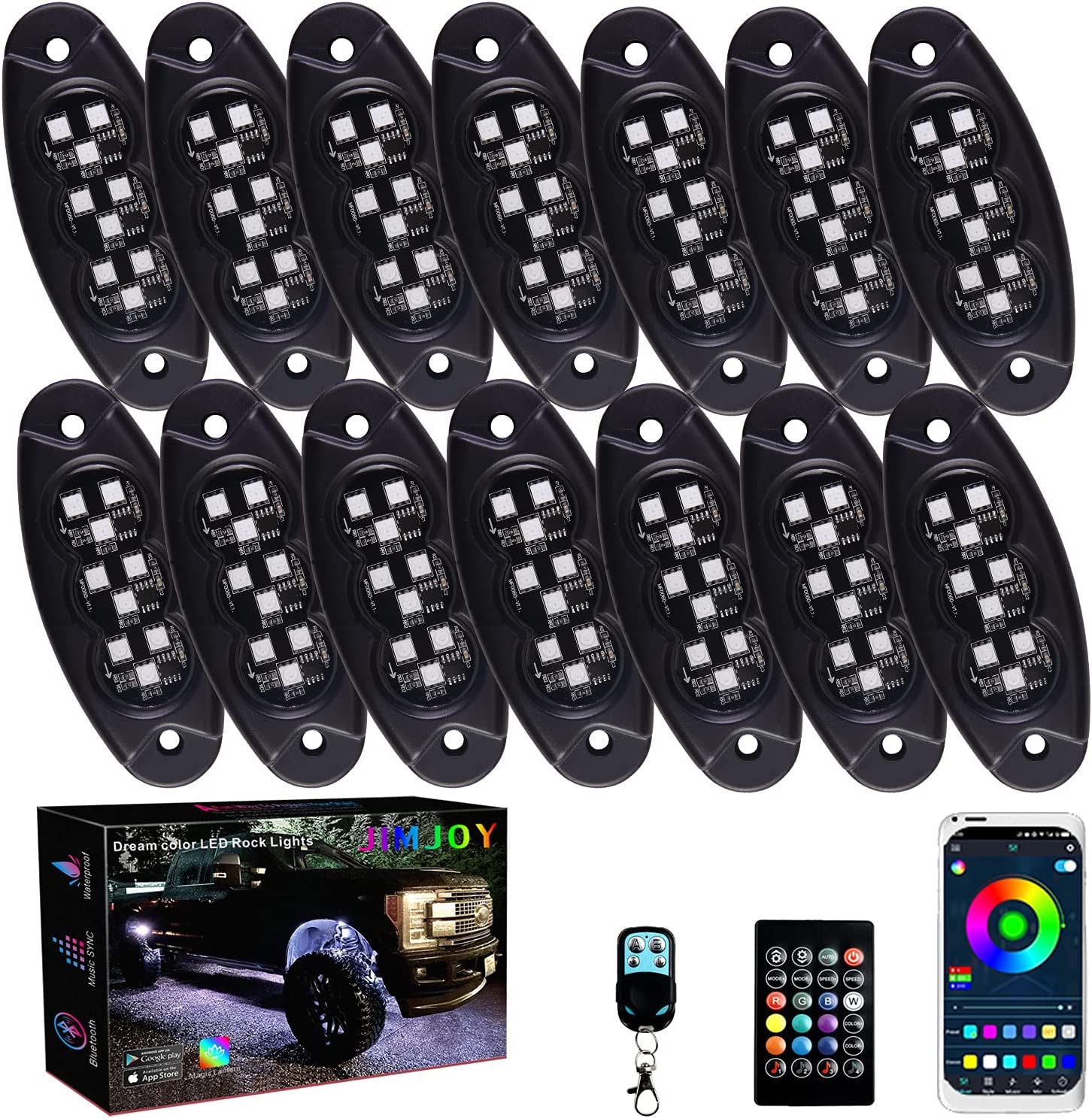 JIMJOY RGB LED Rock Lights Low price 14 Multicolor Cash special price Waterproof Pods Chasing