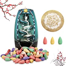 Ceramic Backflow Incense Holder, Waterfall Incense Burner with 120 Incense Cones & 1 Mat Aromatherapy Ornament Home Decor ...