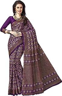 Jevi Prints Women's Cotton Purple Kalamkari Print Saree with Blouse Piece (Samaira-601_Purple_Free Size)