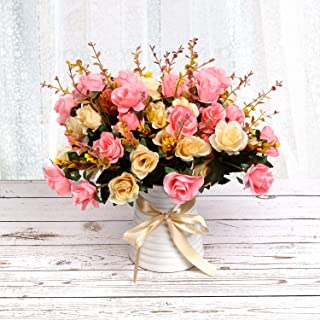 LY EMMET Artificial Rose Bouquets with Ceramics Vase Fake Silk Rose Flowers Decoration for Table Home Office Wedding-Pink