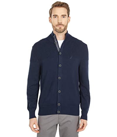 Nautica Classic Fit Knit Cardigan (Navy) Men