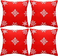 Grelucgo Christmas Holiday Embroidered Snowflake Throw Pillow Case Cover, Decorative Christmas Sofa Cushion Covers, Square 16 x16 Inch, Set of 4