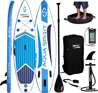 AQUA SPIRIT All Skill Levels Premium Inflatable Stand Up Paddle Board for Adults & Youth | Beginner & Intermediate iSUP Touring & Racing Model | Adjustable Aluminum Paddle Carry Bag SUP Safety Leash