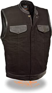 Men's SOA Leather Trimmed Denim Vest Concealed Snap w/ Hidden Zipper w/ 2 Inside Gun Pockets (X-Large)