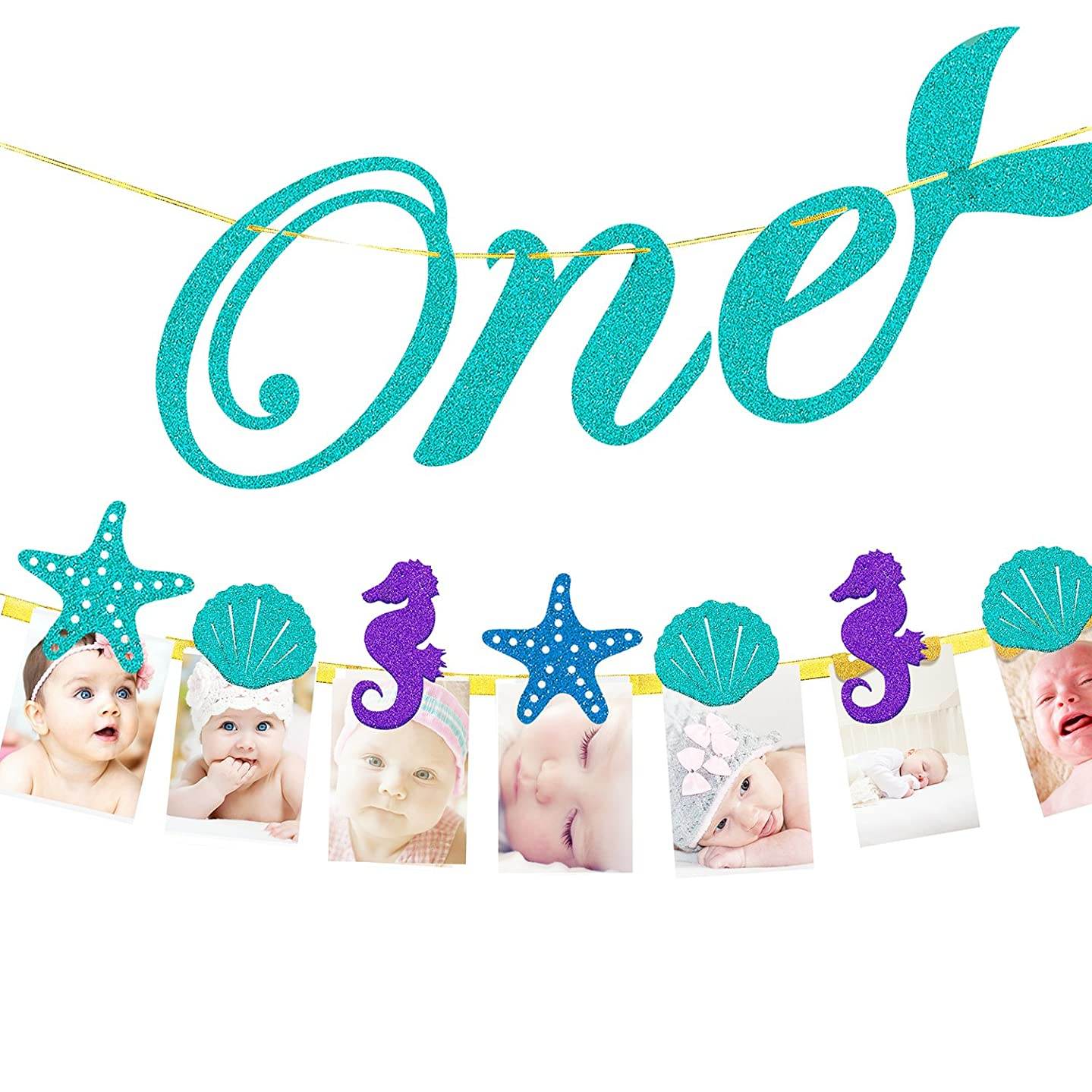Little Princess 1st Birthday Party Decorations - Monthly Milestone Photo Banner for Newborn to 12 Months, 1-12 Month Ocean Theme Numbering Photo Holder.