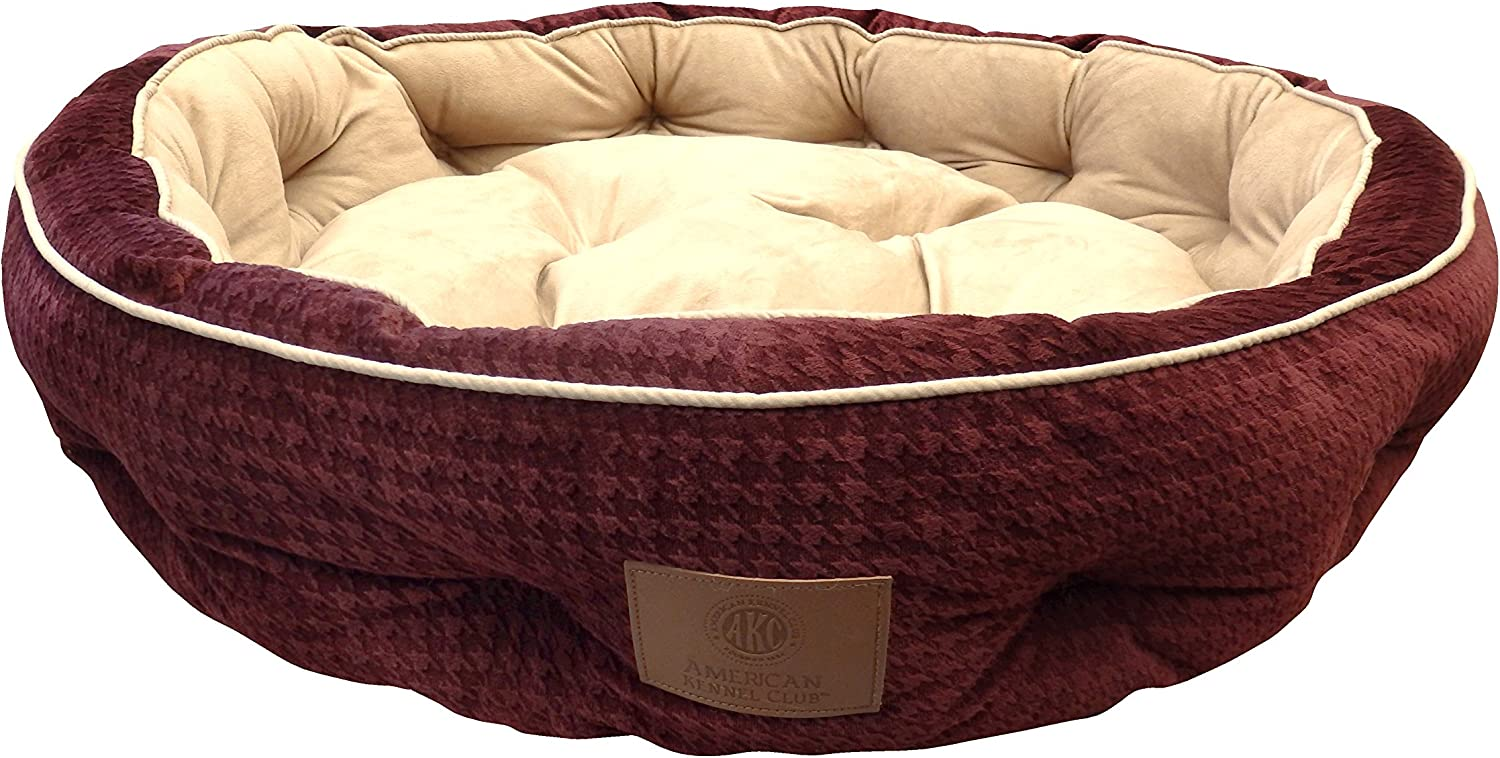 American Kennel Club Thermal Houndstooth Self Heating Memory Foam Pet Bed, 30X30X7, Burgundy