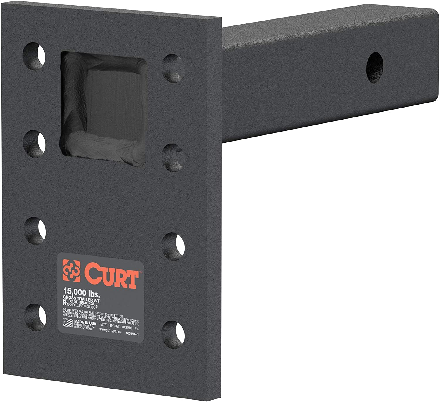 CURT 48325 Adjustable Ranking TOP11 Limited time cheap sale Pintle Mount 15 for Receiver Hitch 2-Inch