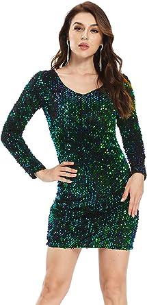 PYYZON Women's Glitter V-Neck Long Sleeve Bodycon Sequin Cocktail Party Club Sparkly Evening Mini Dress