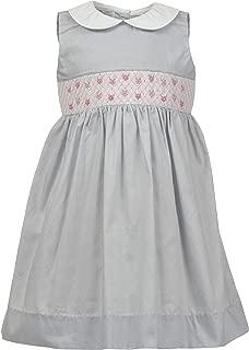 Carriage Boutique Baby Girls Dress Light Grey with Hand Smocked Flowers on Yoke Sleeveless Dress
