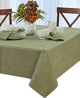 Newbridge Penington Solid Woven No-Iron Soil Resistant Fabric Tablecloth - 60 X 84 Oblong - Green