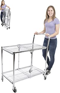 Original Tubstr – Collapsible Wire Cart - 2 Shelf Wire Utility Cart Provides Convenient Transport, Holds 200 Pounds and Folds Up for Storage - Commercial Grade