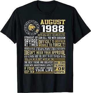 Born August Leo 1988 birthday gifts T-Shirt