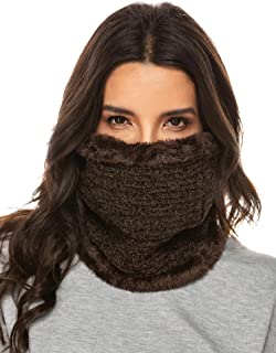 Chigant Cold Weather Wraps Warmer Circle Scarf Thick Neck Windproof Winter Warm Wool Knit Collar Set