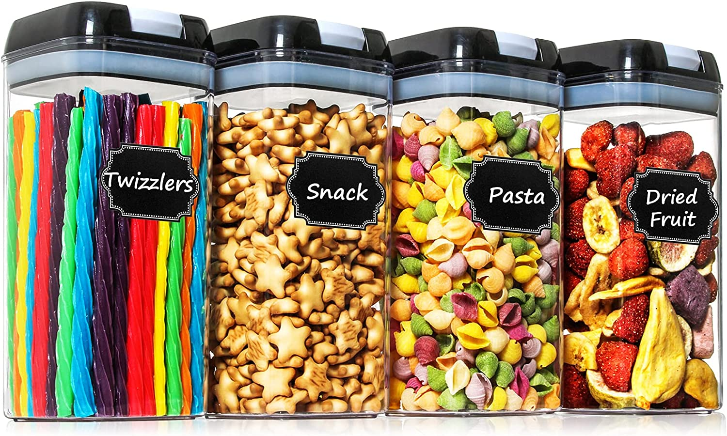Airtight Food Storage Containers - Paincco 4 PC BPA Free Plastic Canisters 1.2L/1.1QT with Easy Lock Lids for Kitchen & Pantry Organization, Ideal for Cereal, Snack & Flour, with 20 Labels & Marker