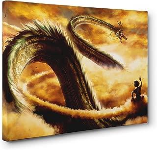 OneCanvas DRAGON BALL Z GOKU & SHENRON FRAMED CANVAS PRINT POSTER WALL ART (Small (12x18in.))