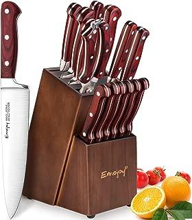 Knife Set, 15-Piece Kitchen Knife Set with Oakwood Block Wooden, Manual Sharpening for Chef Knife Set, German Stainless Steel, Emojoy