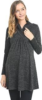 Hello MIZ Women's Sweater Knit Maternity Long Sleeve Tunic Top