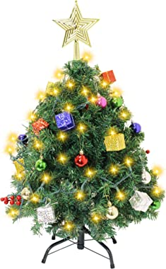 Joiedomi DIY Christmas Tree 2.5FT with Decorating Kits and 100Counts of String Lights, Prelit Artificial Christmas Tree Decor