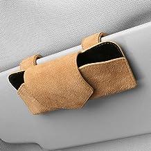 UTOBY Bril houder voor auto zonneklep brillenetui universeel lederen brillenkoker opbergdoos multifunctionele auto brillen...
