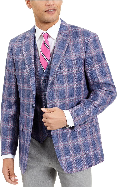 Tommy Hilfiger Mens Blue Single Breasted Windowpane Plaid Sport Coat