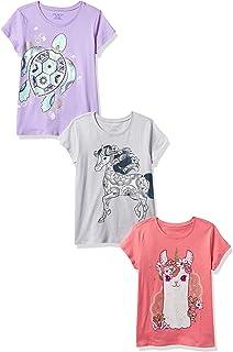 The Children's Place Camiseta gráfica para niñas, Paquete de 3 Camiseta para Niñas