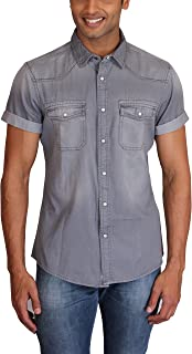 Max Exports Men's Steel Grey Denim Shirt
