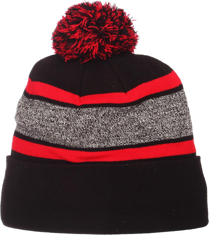 ZHATS Zephyr Mammoth Cuff Beanie Hat with Pom Pom NCAA Cuffed Winter Knit Toque Cap