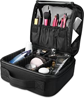ProCase Makeup Train Case, Portable Cosmetic Case Organizer Artist Storage Bag Travel Organizer Make up Carrier with Large Capacity Adjustable Dividers for Cosmetics -Black