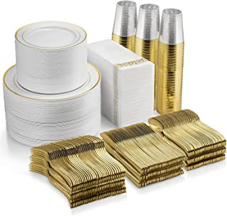 700 Piece Gold Dinnerware Set - 200 Gold Rim Plastic Plates - 300 Gold Plastic Silverware - 100 Gold Plastic Cups - 100 Li...