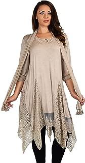 Women Plus Size Asymmetrical Lace Tunic Blouse Top Set with Scarf